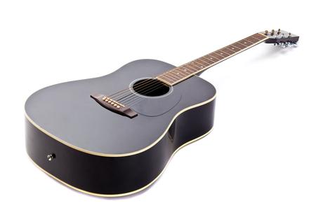 bluegrass: Black shiny acoustic guitar isolated on white background