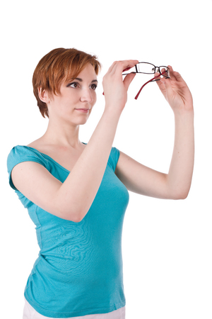one teenage girl only: Woman hold her glasses
