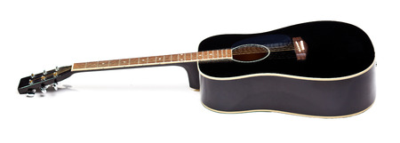 bluegrass: Elegance black shiny guitar isolated on white background