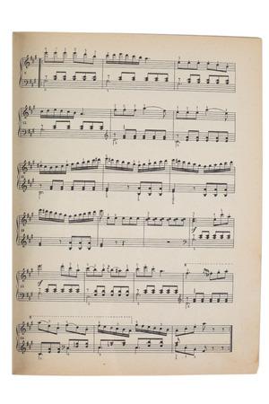 oude muziek blad op wit wordt geïsoleerd Stockfoto