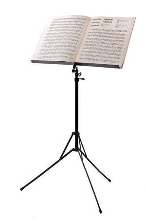 music stand with piano notes isolated on white background