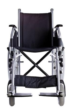 paraplegic: Negro silla de ruedas aislado en el fondo blanco Foto de archivo