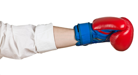 combative sport: Hand with Boxing Gloces on white Stock Photo