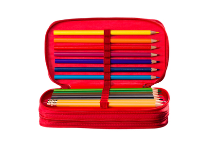 Writing and drawing tools in a pencil box for school, office and home. Stock Photo