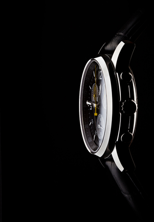 swiss culture: mens wrist watch on black