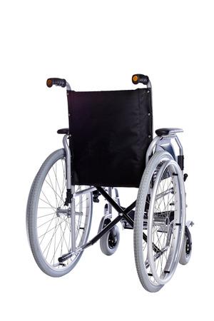 paraplegico: Negro silla de ruedas aislado en el fondo blanco Foto de archivo