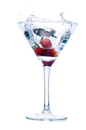 strawberry splash: strawberry splash into drink