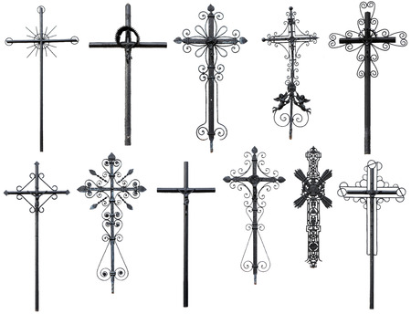 christian cross: old metal Christian cross isolated on white background