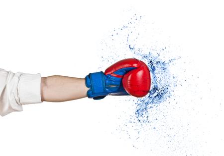 Business Boxing water splash geïsoleerd op wit Stockfoto