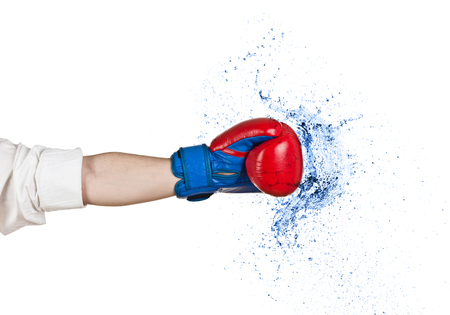 combative sport: Business Boxing water splash isolated on white