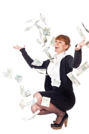 Junge Frau, die kath fallen Geld Standard-Bild - 51044729