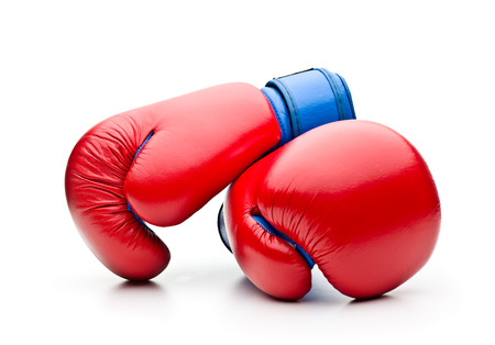 boxing glove: Red boxing gloves on white