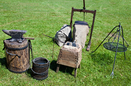 medieval blacksmith: Medieval black smiths tool from the biggest medieval festival in Grunwald Stock Photo