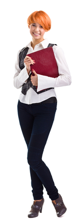 chivalry: female university student smiling and carrying notebook - isolated over a white background