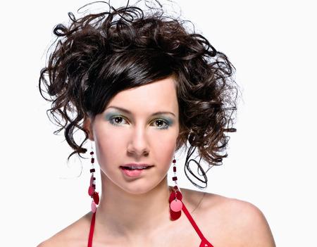 18 19: Young beautiful Caucasian brunette woman. Stock Photo
