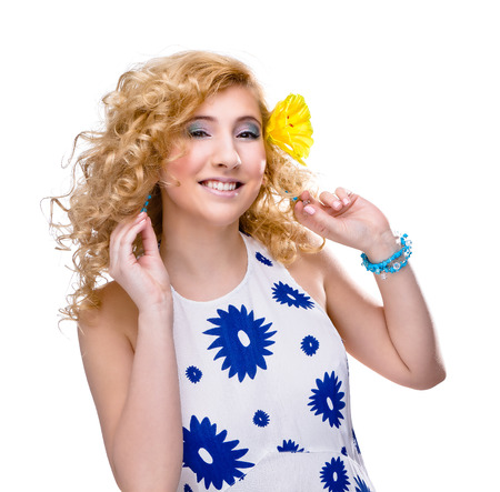 18 19 years: Springtime Blond girl portait isolated on white Stock Photo