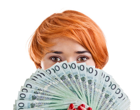 Vrouw met geld Stockfoto