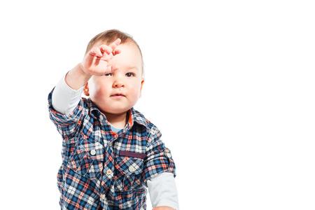 baby isolated: Little Baby boy isolated on white white Stock Photo