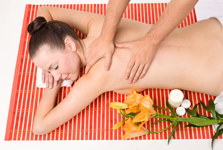 aging face: Lovely lady in massage salon