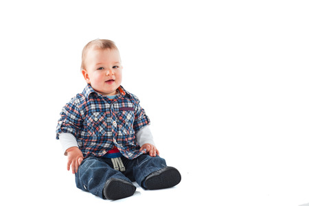 6 12 months: Little Baby boy isolated on white white Stock Photo