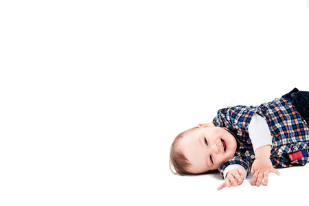 6 12 months: Cute smiling baby on white background Stock Photo