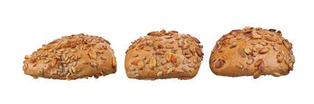 semen: whole wheat bagels isolated on white background.