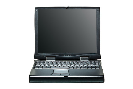 front view: Black portable computer. Front view. Black screen Front view. Stock Photo