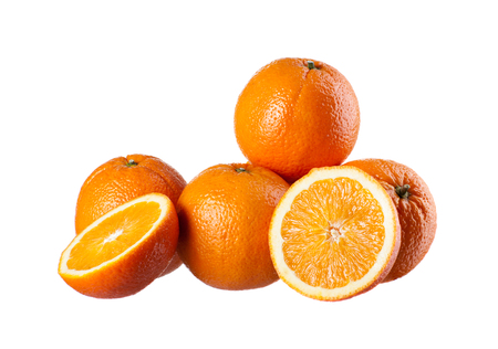 perfectly: Four perfectly fresh oranges isolated on white. Stock Photo