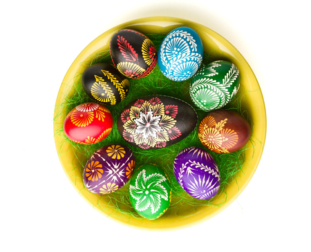 scavenging: painted Easter eggs on yellow plate
