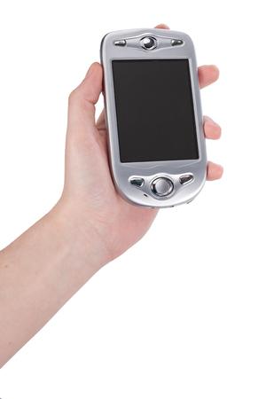 Hand houden van mobiele telefoon
