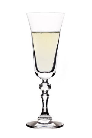 champagne flute: Full Champagne flute isolated on white Stock Photo
