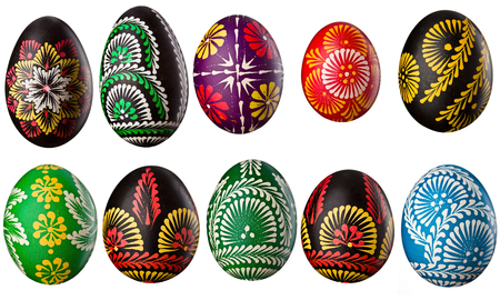 eastertime: Hand painted easter eggs isolated on white Stock Photo