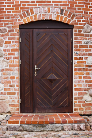 front house: Residential Front Door Of A Victorian House Stock Photo