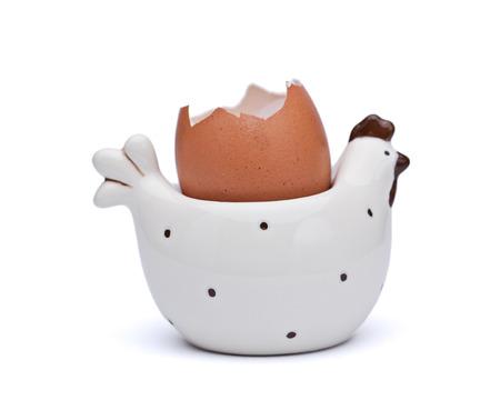 非常に装飾的な粘土鶏白で隔離