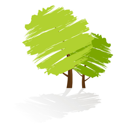 Tree icon with reflection Illustration