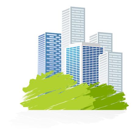 quartier g�n�ral: ic�ne de la ville avec parc de verdure