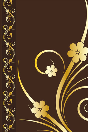 brown background: Elegant Design Background with flowers in gold color