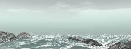 Panorama of stormy sea photo