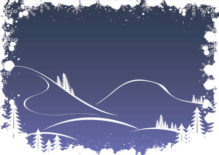 grandfather frost: Grunge winter background with fir-tree snowflakes and santa
