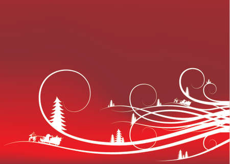 winter background with fir-tree snowflakes and santa Vector