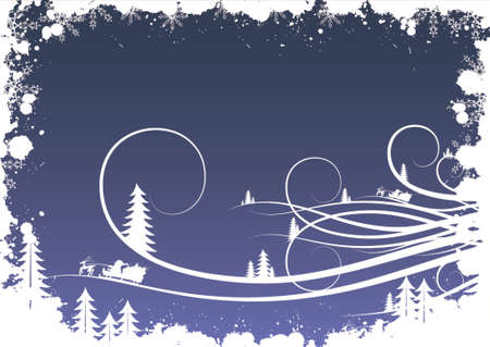 Grunge winter background with fir-tree snowflakes and santa Vector