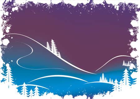 jack frost: Grunge invierno con antecedentes de �rbol de abeto y los copos de nieve santa  Vectores