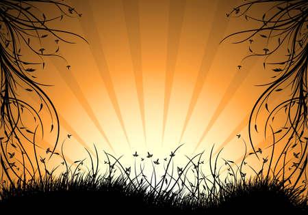 abstract natural decorative sunset background vector illustration illustration