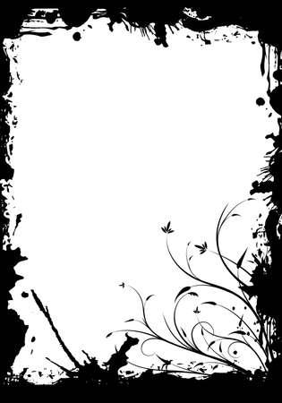 abstract grunge floral decorative black frame vector illustration illustration