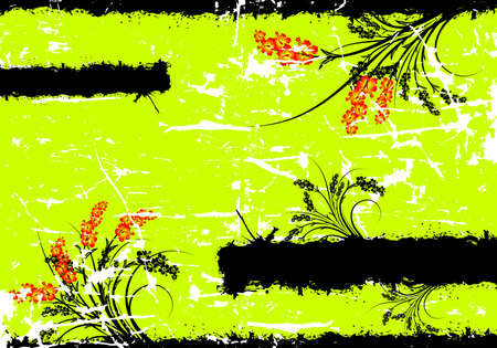 Abstract Spring Floral Grunge Text Decoration Frame Vector Illustration illustration