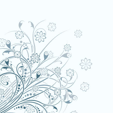 lite: Abstract background witn floral scrolls isolated on lite blue Stock Photo