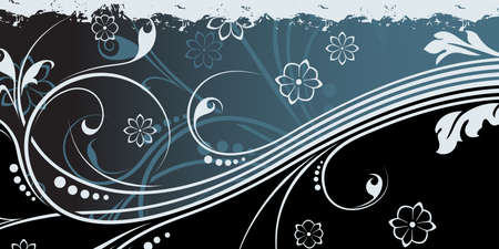 Abstract grunge background witn floral scrolls in blue color