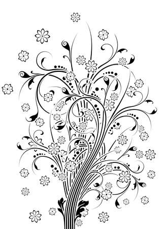 Abstract  painted background with flowers vector illustration Stock Photo