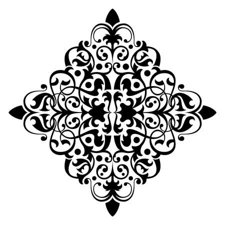 baroque border: Ancient decorative ornament vector illustration isolated on white