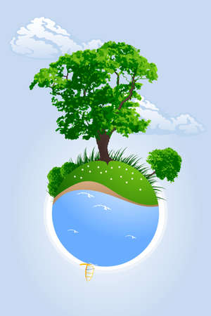 windsurfing: Abstract green planet with trees grass and windsurfing vector illustration Stock Photo